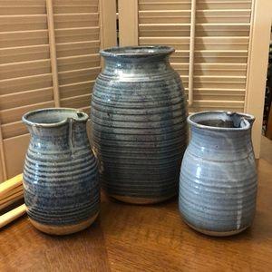 Set of three pottery vases